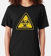 Biohazard Symbol Warning Sign - Yellow & Black - Triangular Slim Fit T-Shirt