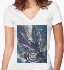 Drop of Leaves Women's Fitted V-Neck T-Shirt