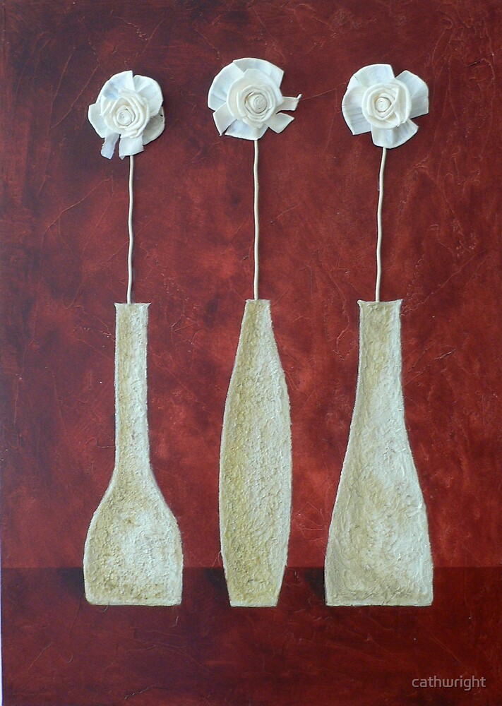 3 white flowers by cathwright