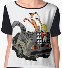 CALVIN AND HOBBES DELOREAN Chiffon Top