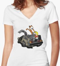 CALVIN AND HOBBES DELOREAN Women's Fitted V-Neck T-Shirt