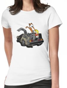 CALVIN AND HOBBES DELOREAN Womens Fitted T-Shirt