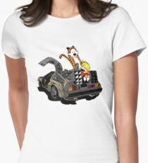 CALVIN AND HOBBES DELOREAN Women's Fitted T-Shirt