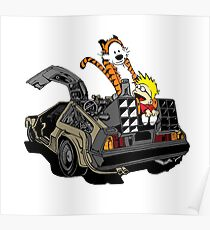 CALVIN AND HOBBES DELOREAN Poster