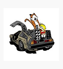 CALVIN AND HOBBES DELOREAN Photographic Print