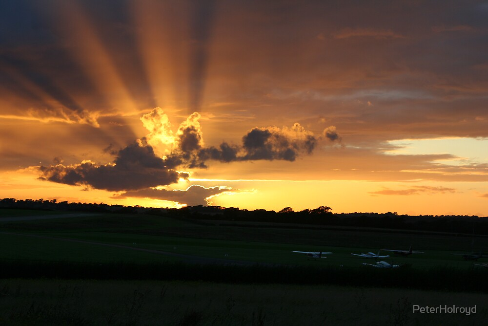 Sunset over Isle of Wight airport by PeterHolroyd