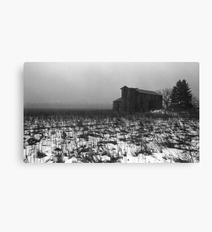 pennsylvania foggy barn Canvas Print