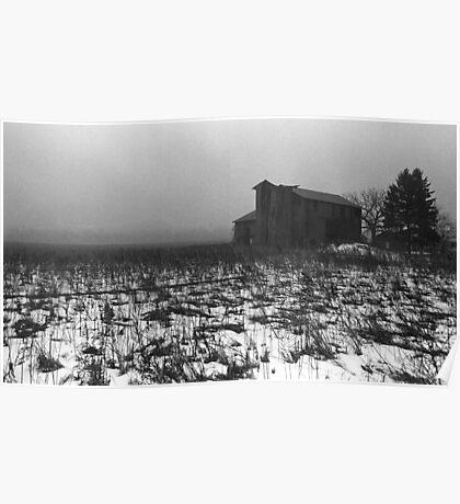 pennsylvania foggy barn Poster