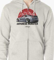 GTR. Japanese Monster (grey) Zipped Hoodie