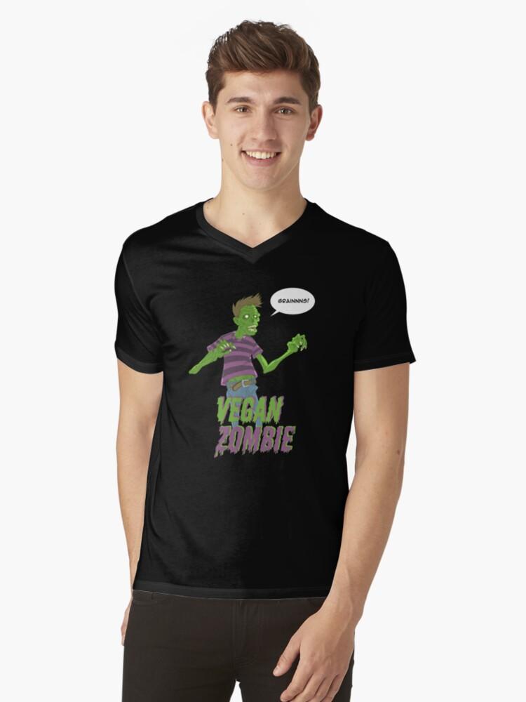 Vegan Zombie Mens V-Neck T-Shirt Front