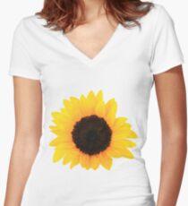 Sunflower Single Bloom Women's Fitted V-Neck T-Shirt