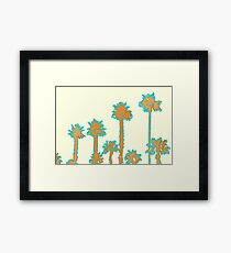 brown and blue palm trees with yellow background Framed Print