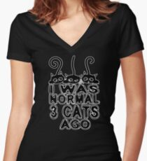 I Was Normal 3 Cats Ago Funny Cat Lover Soft Screen Printed Summer Graphic Gift Tshirt Women's Fitted V-Neck T-Shirt
