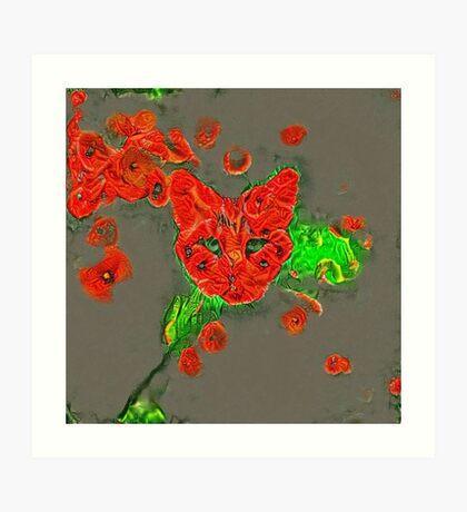 Ninja cat hiding in poppies #Art Art Print
