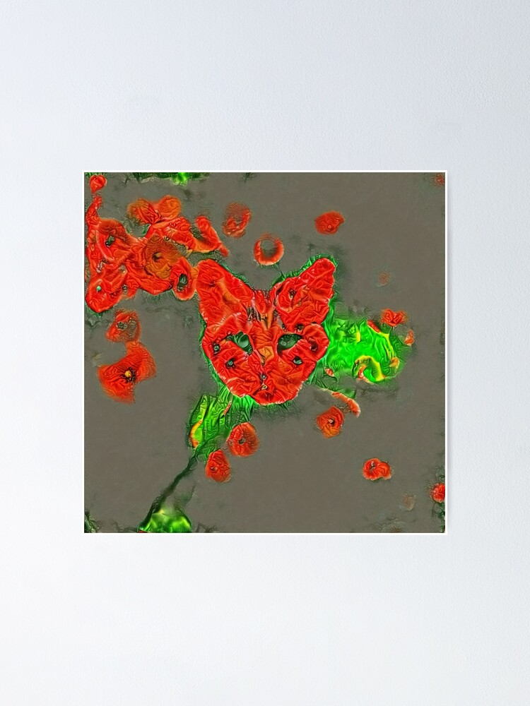 Alternate view of Ninja cat hiding in poppies #Art Poster