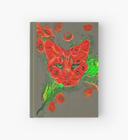 Ninja cat hiding in poppies #Art Hardcover Journal