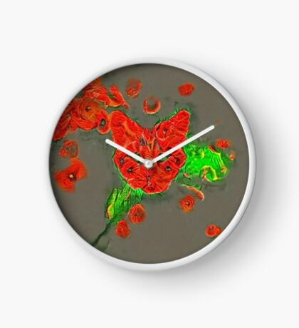 Ninja cat hiding in poppies #Art Clock