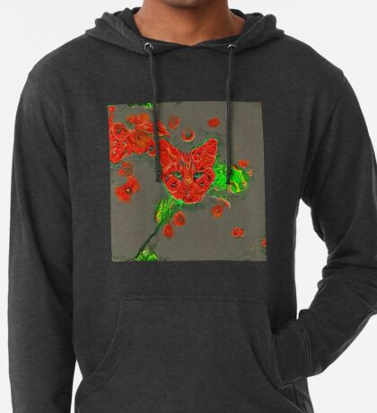 Ninja cat hiding in poppies #Art Lightweight Hoodie
