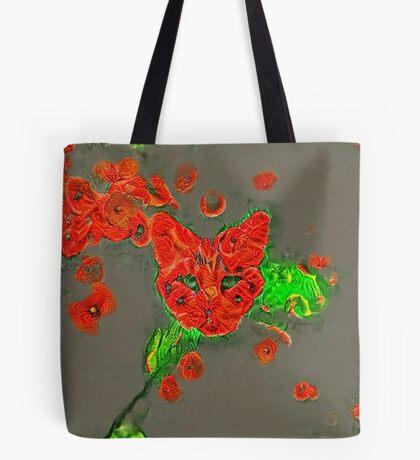 Ninja cat hiding in poppies #Art Tote Bag