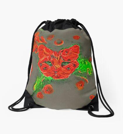 Ninja cat hiding in poppies #Art Drawstring Bag
