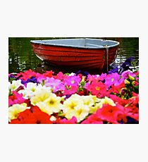 Red Boat Flower Bed Photographic Print