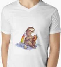 Cozy Sloth Men's V-Neck T-Shirt