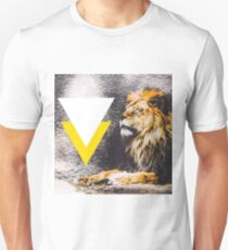 lion with white and yellow triangle  Unisex T-Shirt
