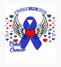 I wear blue for colon cancer awereness shirt Photographic Print