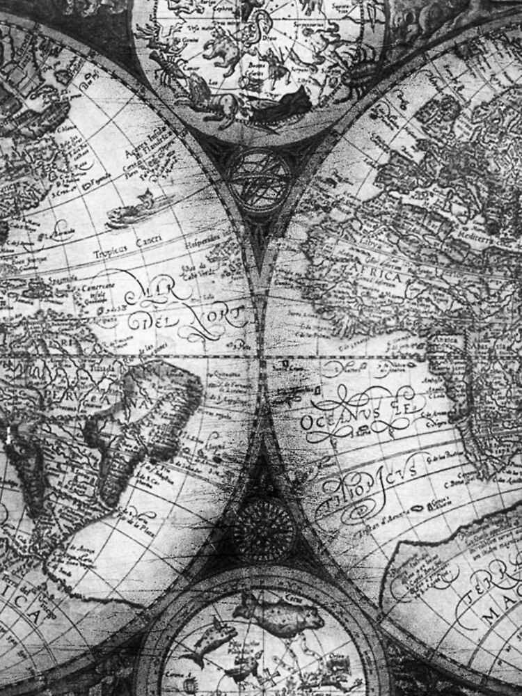 World map antique vintage black and white globe astrology star maps world map antique vintage black and white globe astrology star maps gumiabroncs Images