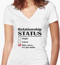 Relationship Status Anime Women's Fitted V-Neck T-Shirt