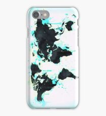 World Map - Turquoise Blue Green Paint and Black Ink on Paper Globe Map Wall Tapestry iPhone Case/Skin