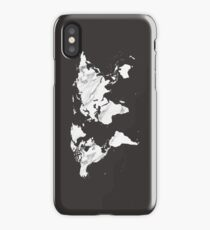 Marble World Map in Black and White Marbled Wood Map Tapestry iPhone Case