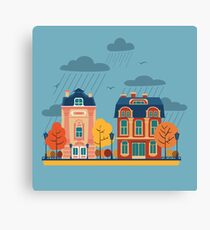 European City Urban Landscape with Vintage Houses and Trees Canvas Print