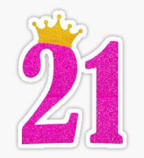 21st Birthday Girl Pink Princess Crown Sassy Gift Sticker