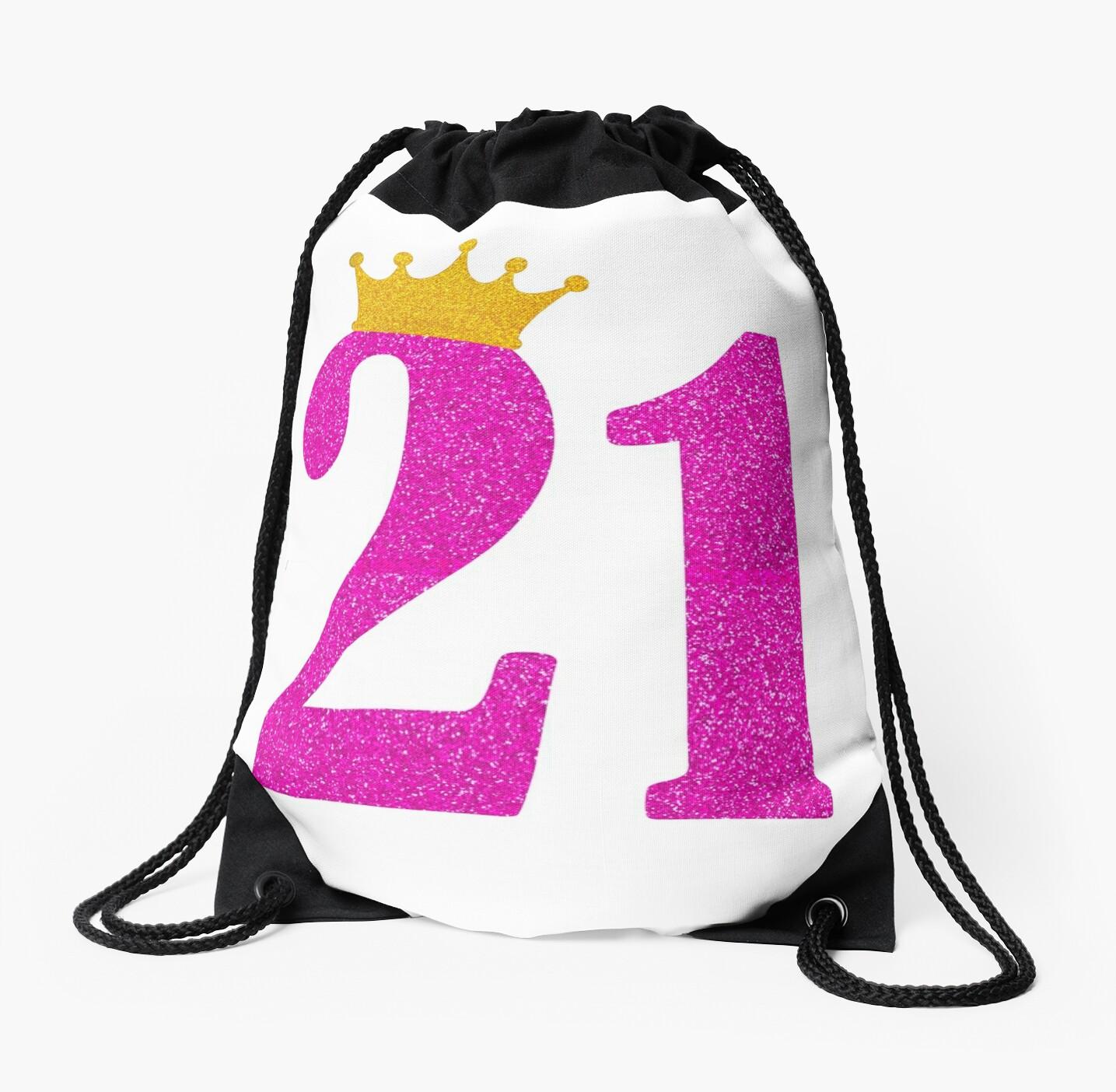 Mochilas de cuerdas «21 cumpleaños niña rosa princesa corona regalo ...