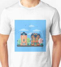 European City Urban Landscape with Vintage Houses and Trees T-Shirt