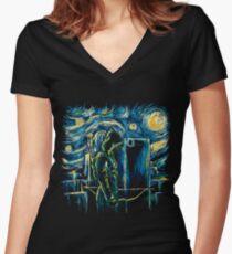 Starling Night (Arrow & Van Gogh) Women's Fitted V-Neck T-Shirt