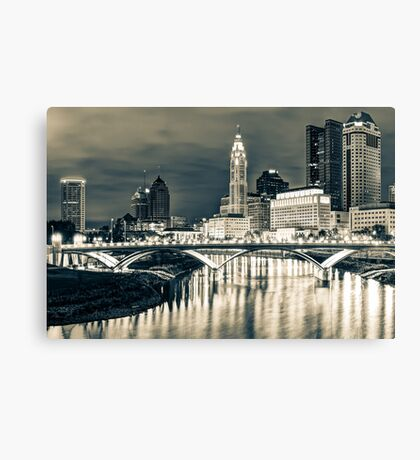 Skyline view of Downtown Columbus Ohio at Dusk - Sepia Canvas Print