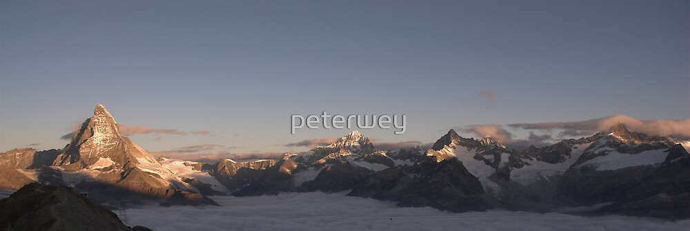 Panoramic view of the Matterhorn at sunrise. by peterwey
