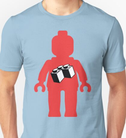 Red Minifig with 2 x 2 Corner Brick Logo, Customize My Minifig T-Shirt