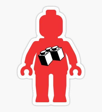 Red Minifig with 2 x 2 Corner Brick Logo, Customize My Minifig Sticker