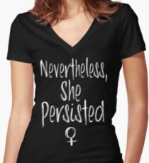 She Persisted Women's Fitted V-Neck T-Shirt