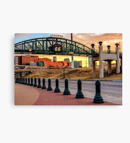Morning on the Mother Road - Tulsa Oklahoma's Route 66 Sign Canvas Print