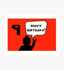 Happy 9th Birthday Greeting Card Art Print