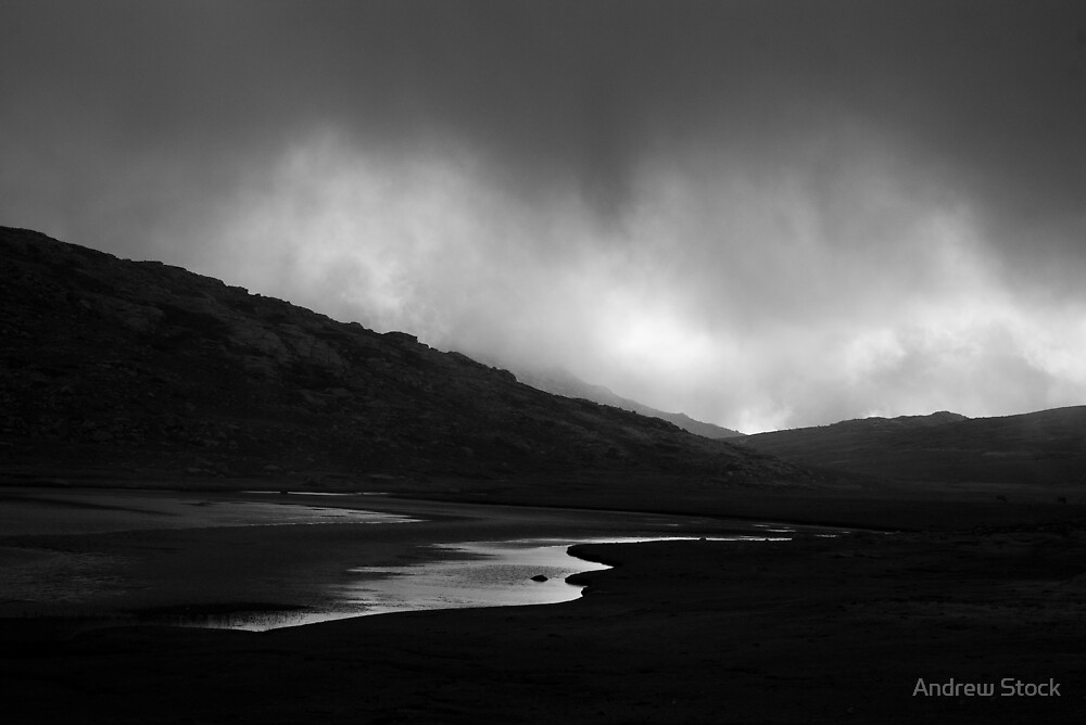 Black and white mountain lake in the cloud by Andrew Stock