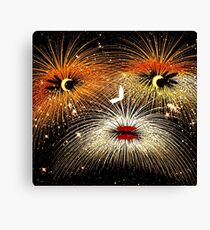 Facetious Fireworks Gold Canvas Print