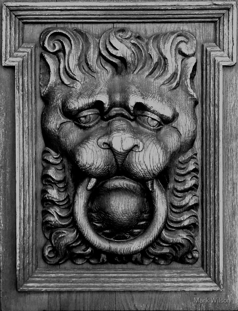 B&W Lion Door Carving by Mark Wilson