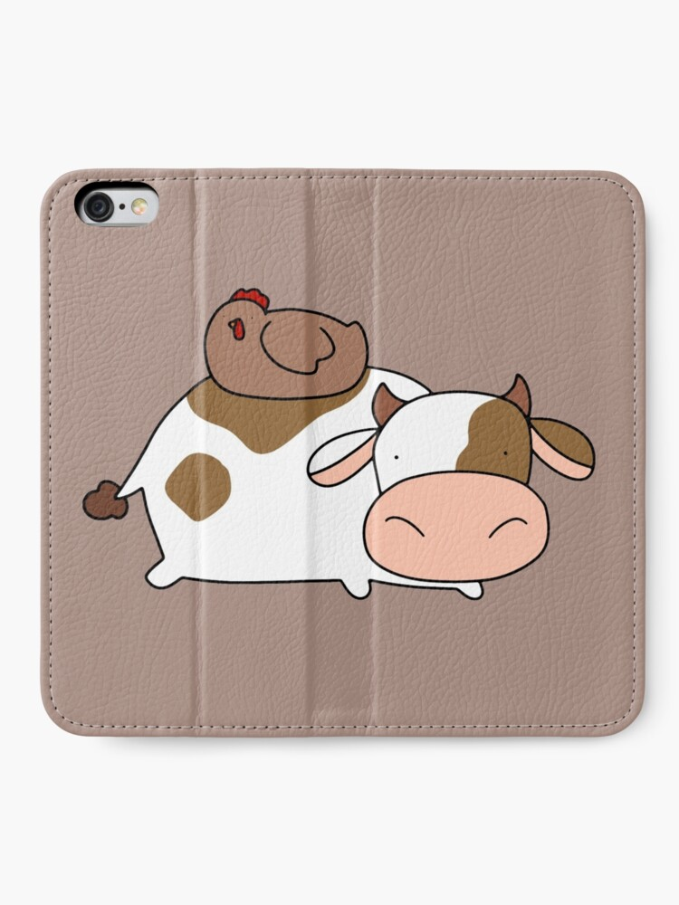 Alternative Ansicht von Brown Huhn und Kuh iPhone Flip-Case