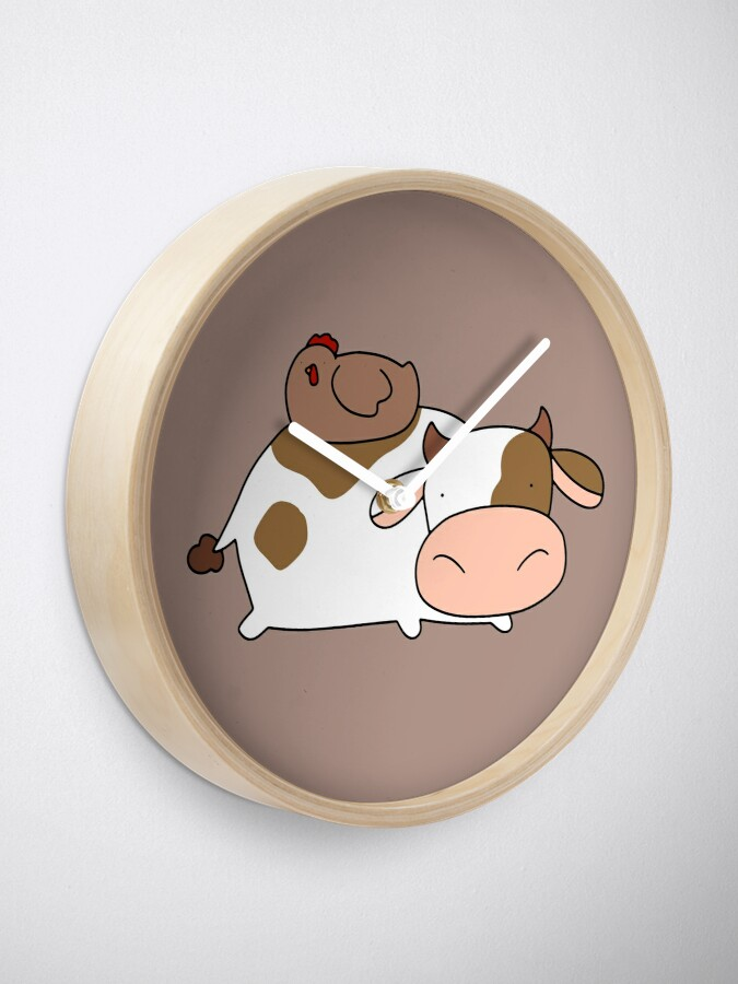 Alternative Ansicht von Brown Huhn und Kuh Uhr
