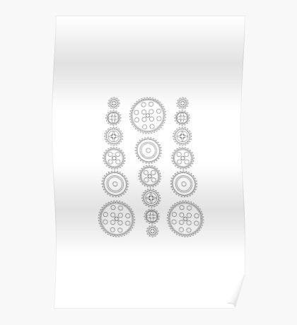 Cog Gear Wheels Pattern Poster